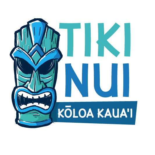 Blue teal tiki illustration logo design