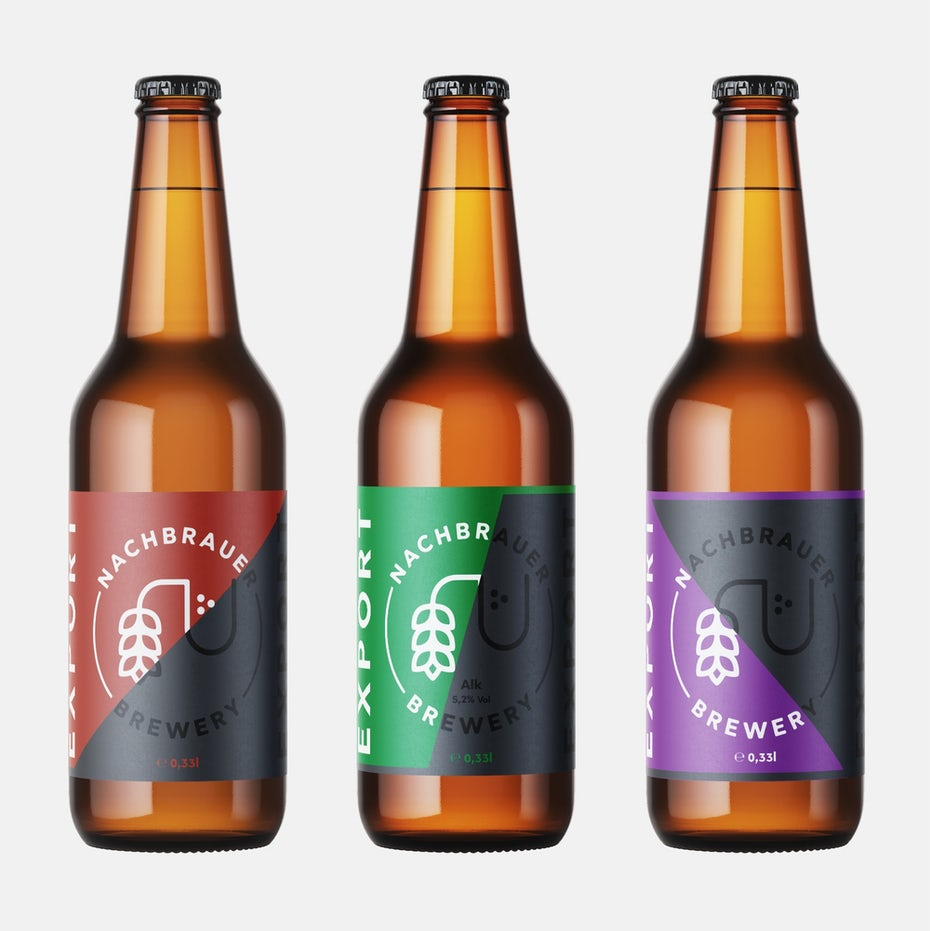 geometry packaging design trend: three beer bottles side by side, each with a gray and colorful label