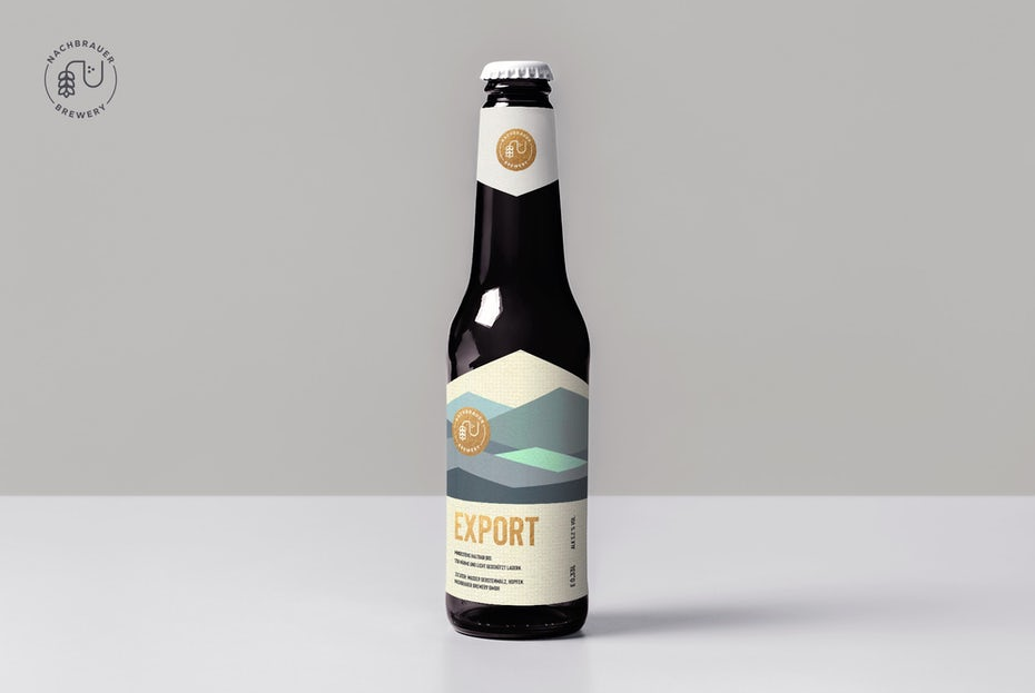 geometry packaging design trend: beer bottle label with abstract geometric mountains artwork
