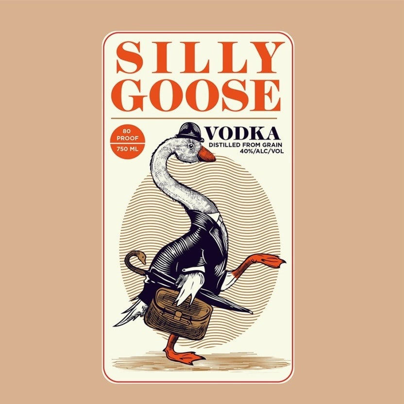 Vodka label illustration of a goose in human clothing