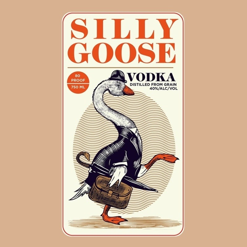 story-driven packaging design trend: label with quirky goose drawing