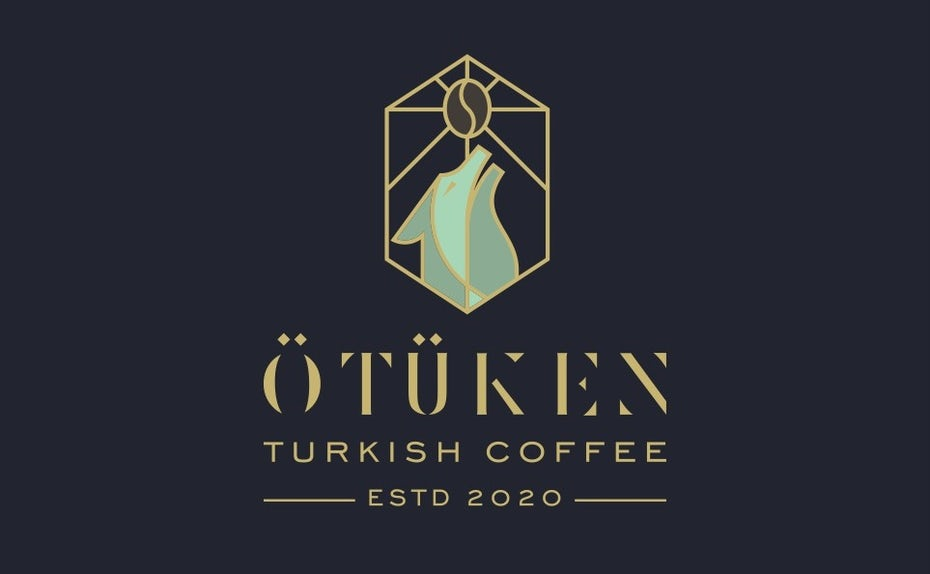 stained glass logo design trend: Abstract wolf stained glass style logo design for coffee brand