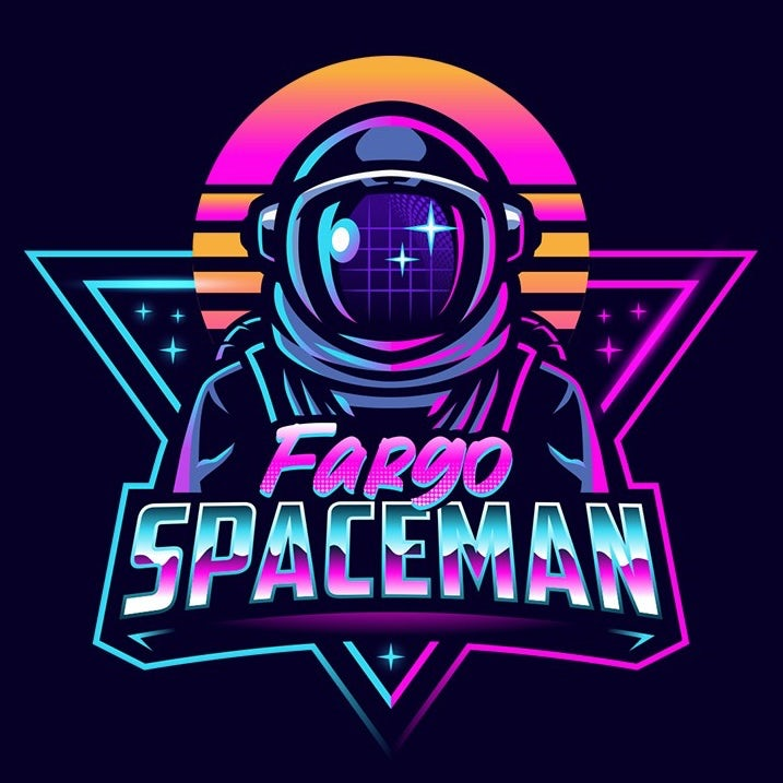 logo design trends example: Retro 80s vaporwave astronaut illustration logo design