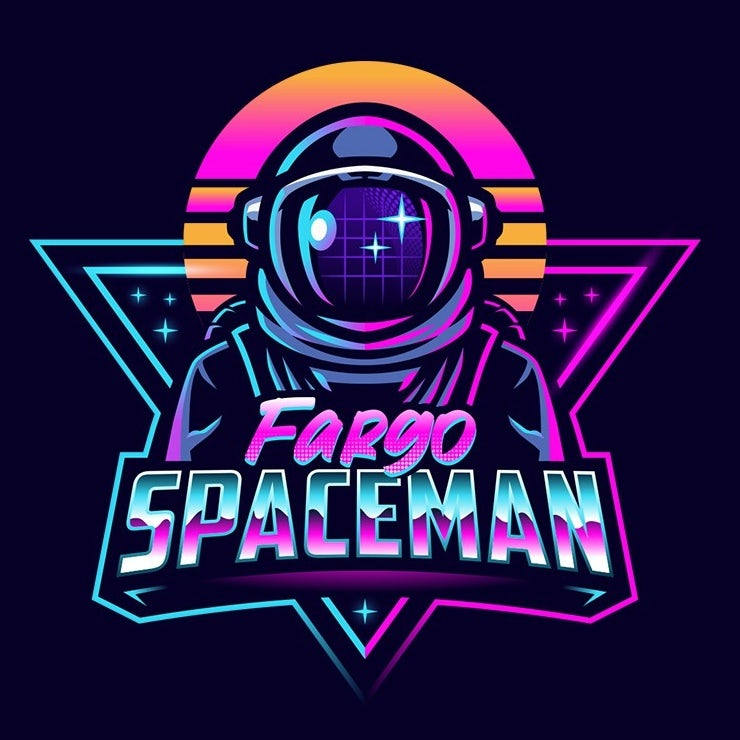 Retro 80s vaporwave astronaut illustration logo design