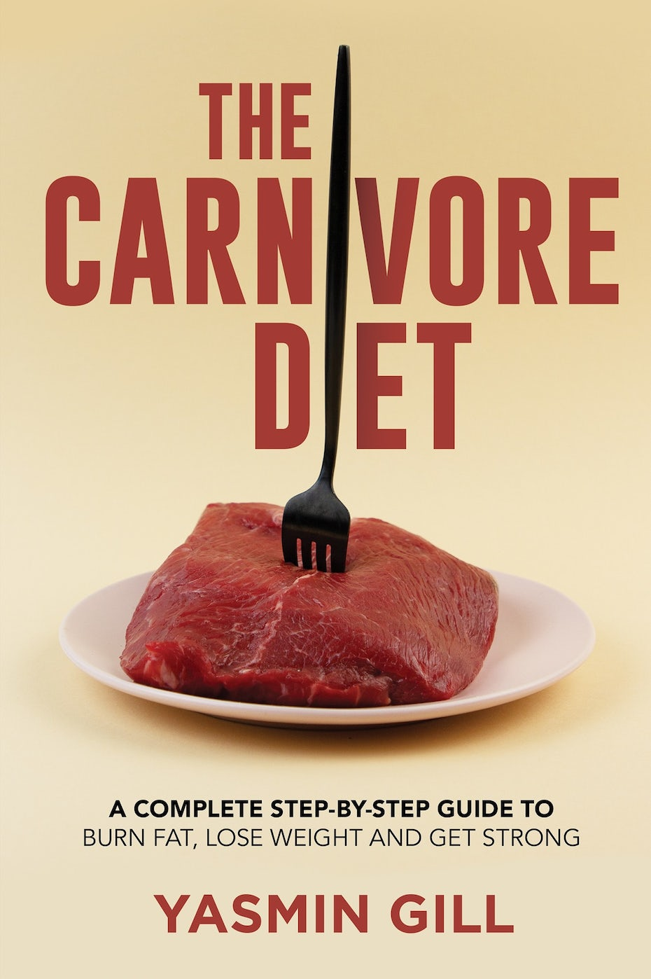 tan book cover with red text and a steak with a long fork in it