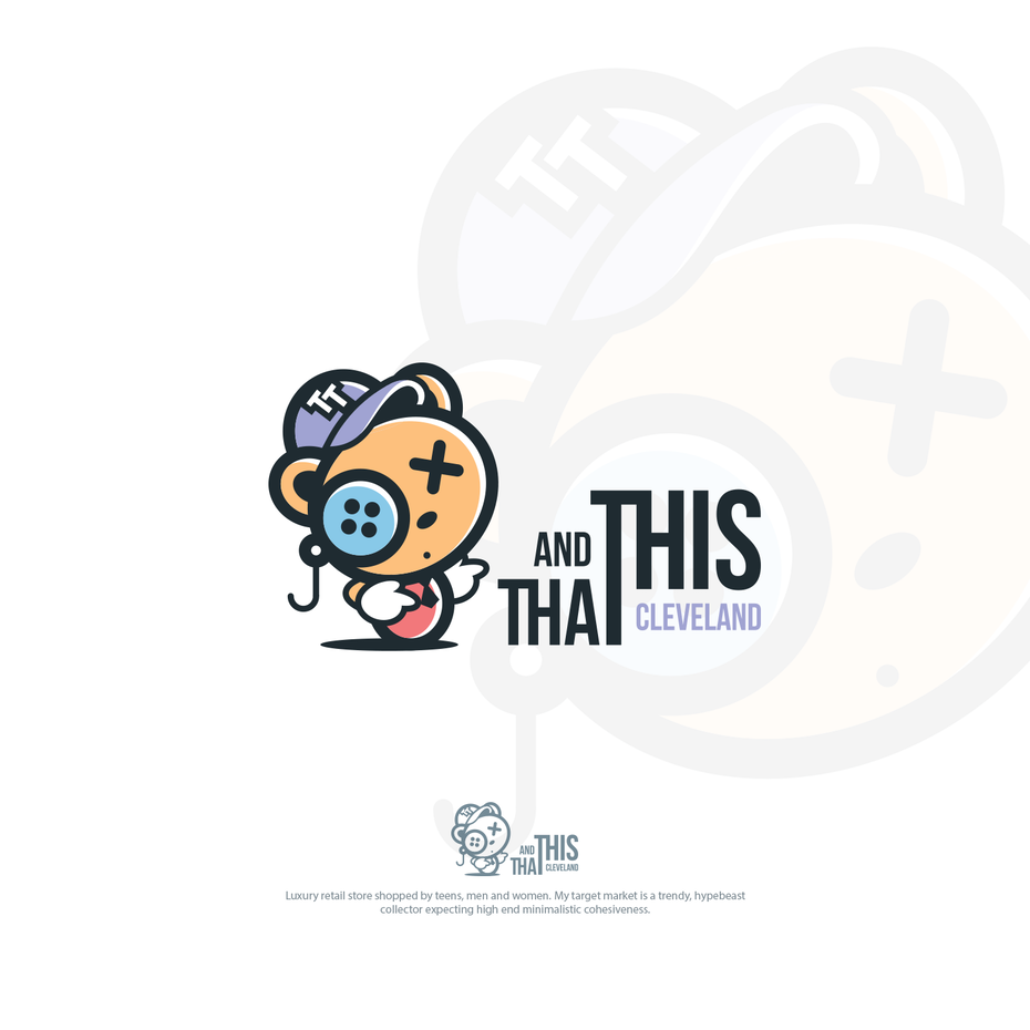 Humorous teddy bear logo design