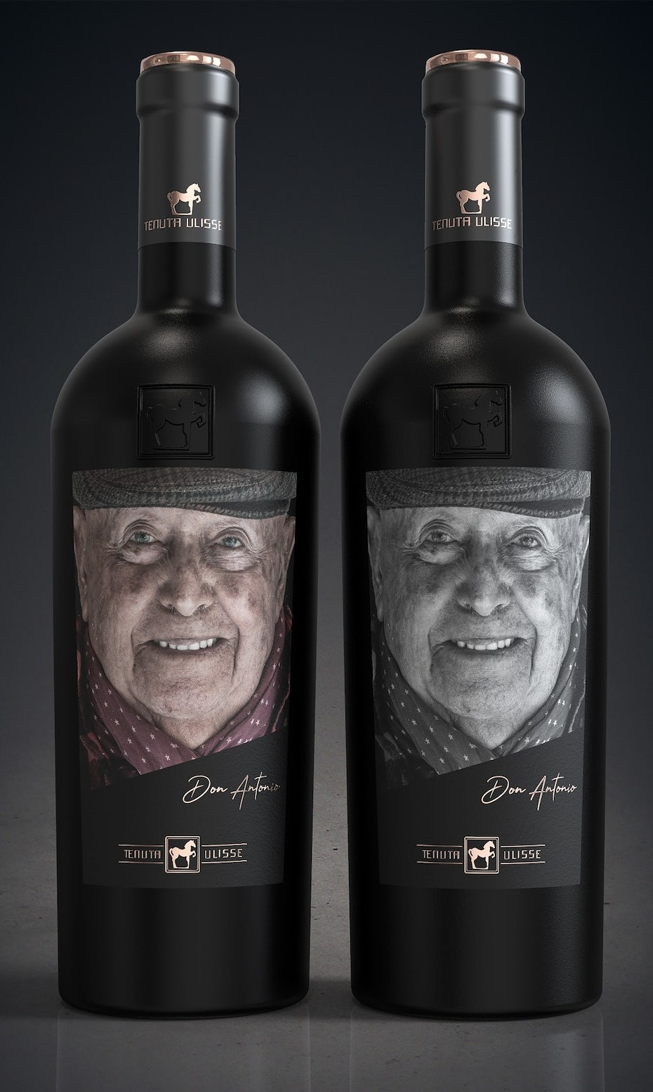 Wine label design with photo portrait