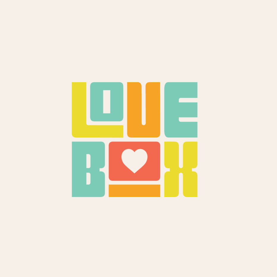 Hand-lettered colorful logo design with rounded block font