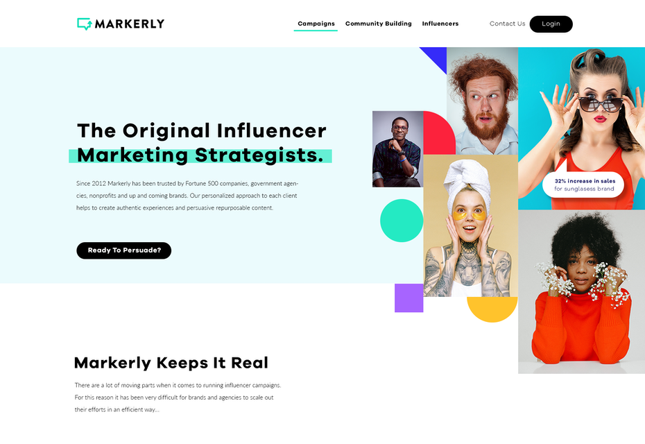 Influencer marketing web page design with abstract art elements