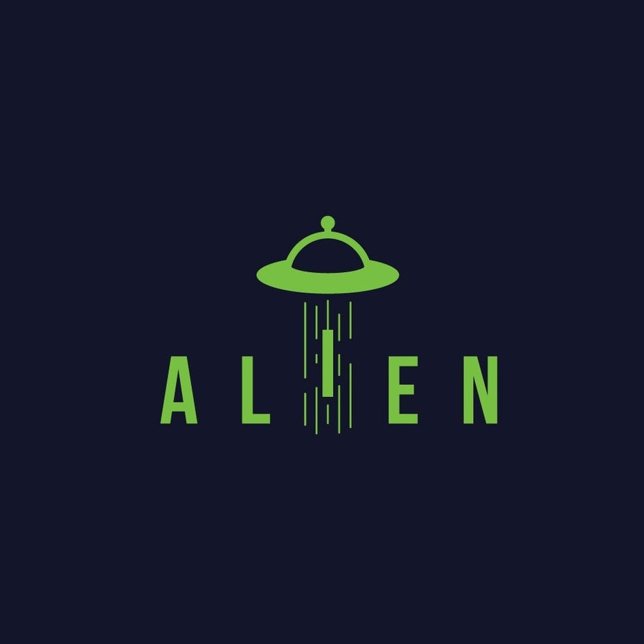 Alien abduction scifi concept logo wordmark design