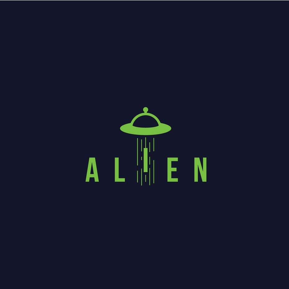 Alien abduction scifi concept logo wordmark design