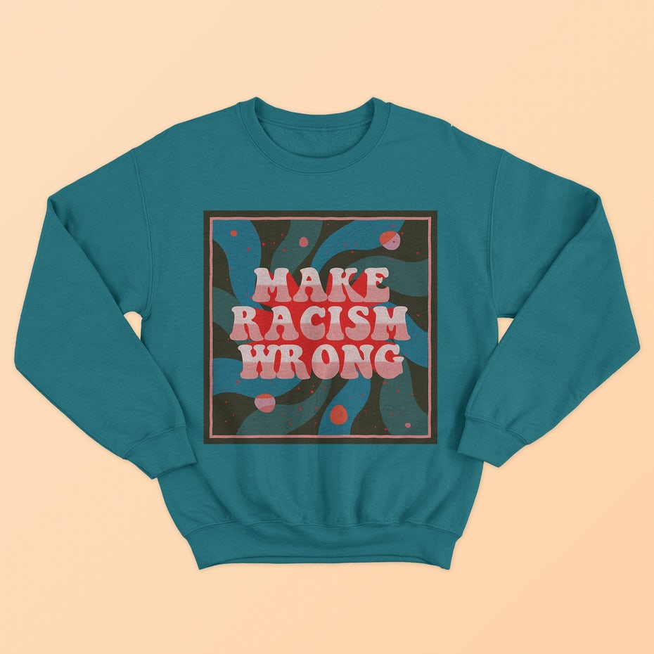 70s style trippy hand-lettered antiracism sweater design