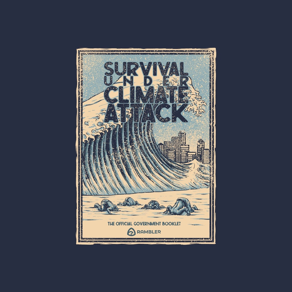 Great Wave off Kanagawa themed illustration on climate change