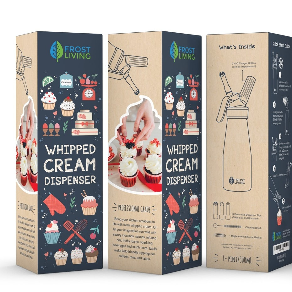 box for whipped cream dispenser showing cupcakes and baking tools