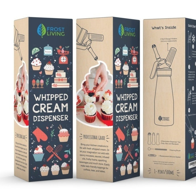 tiny illustration packaging design trend: box for whipped cream dispenser showing cupcakes and baking tools