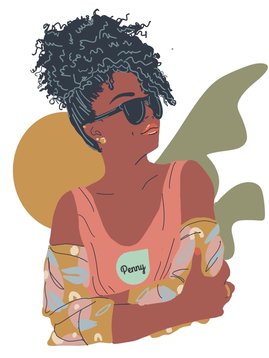 flat illustration of a woman in sunglasses looking to her right