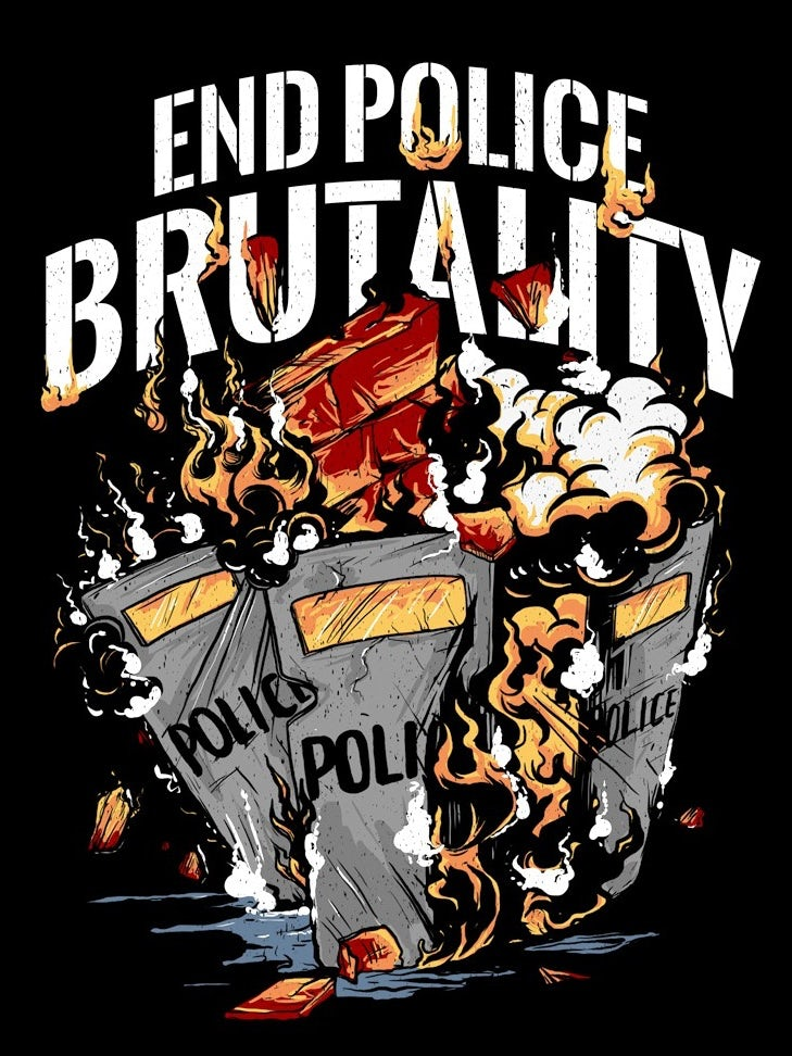 Illustrated t-shirt design protesting police brutality