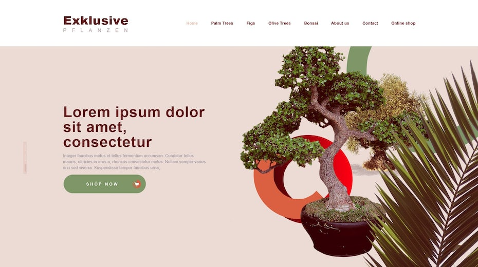 Plant web page design with abstract art elements