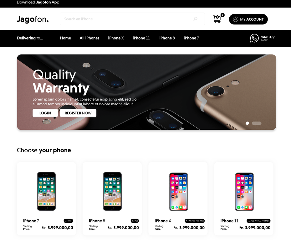iPhone seller web page design