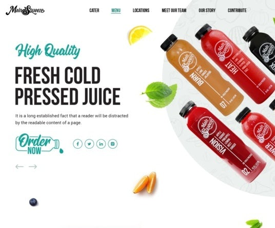 Web page design for fresh juice brand