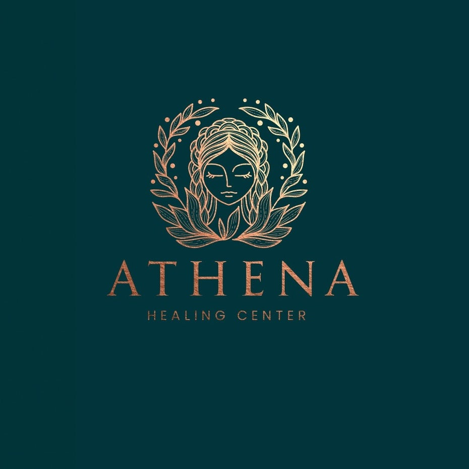 logo design trends example: Symmetrical Athena laurel logo design illustration