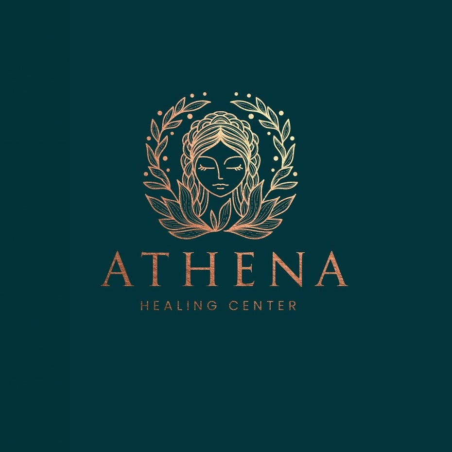 Symmetrical Athena laurel logo design illustration