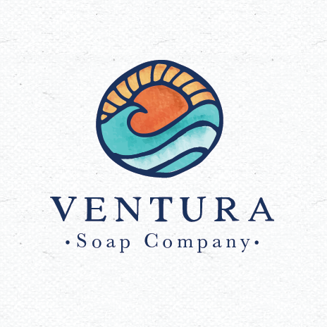 logo design trends example: Ocean sunset stained glass style logo design