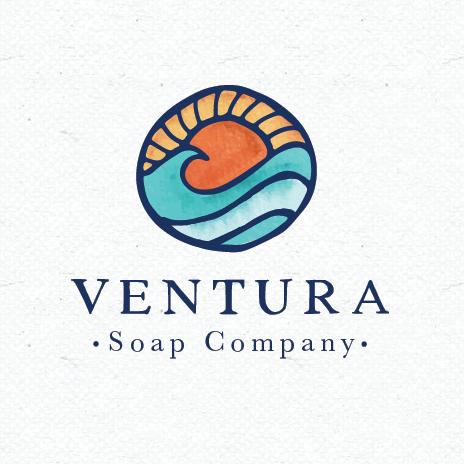 logo design trends example: Ocean sunset stained glass style logo design