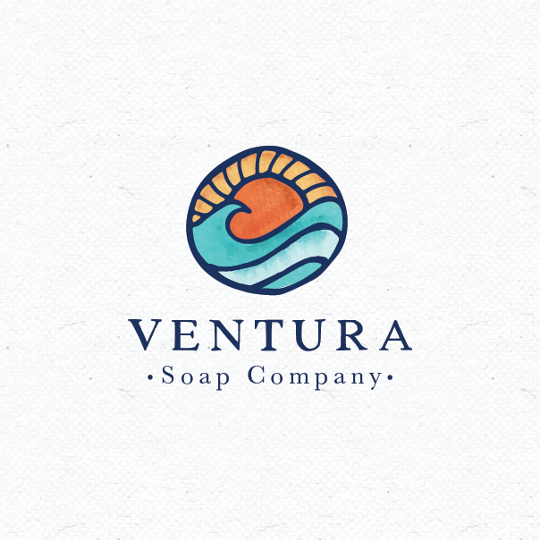 Ocean sunset stained glass style logo design
