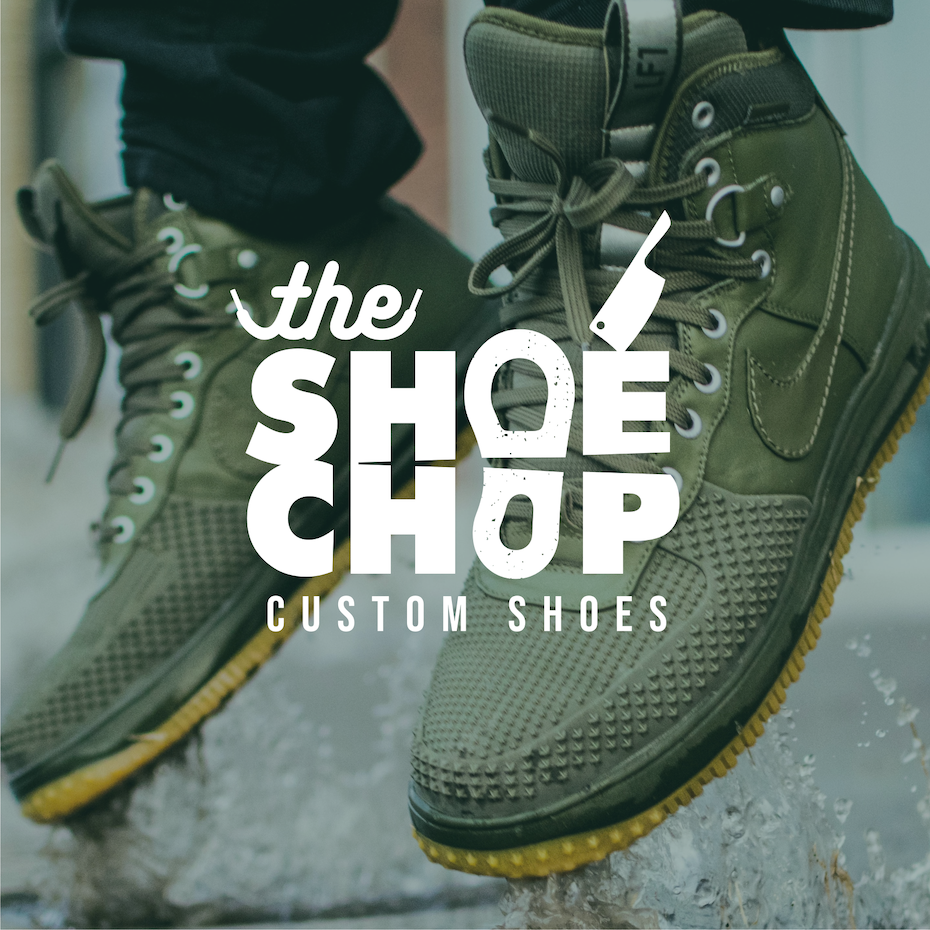logo design trends example: Hand-lettering logo design for sneaker brand
