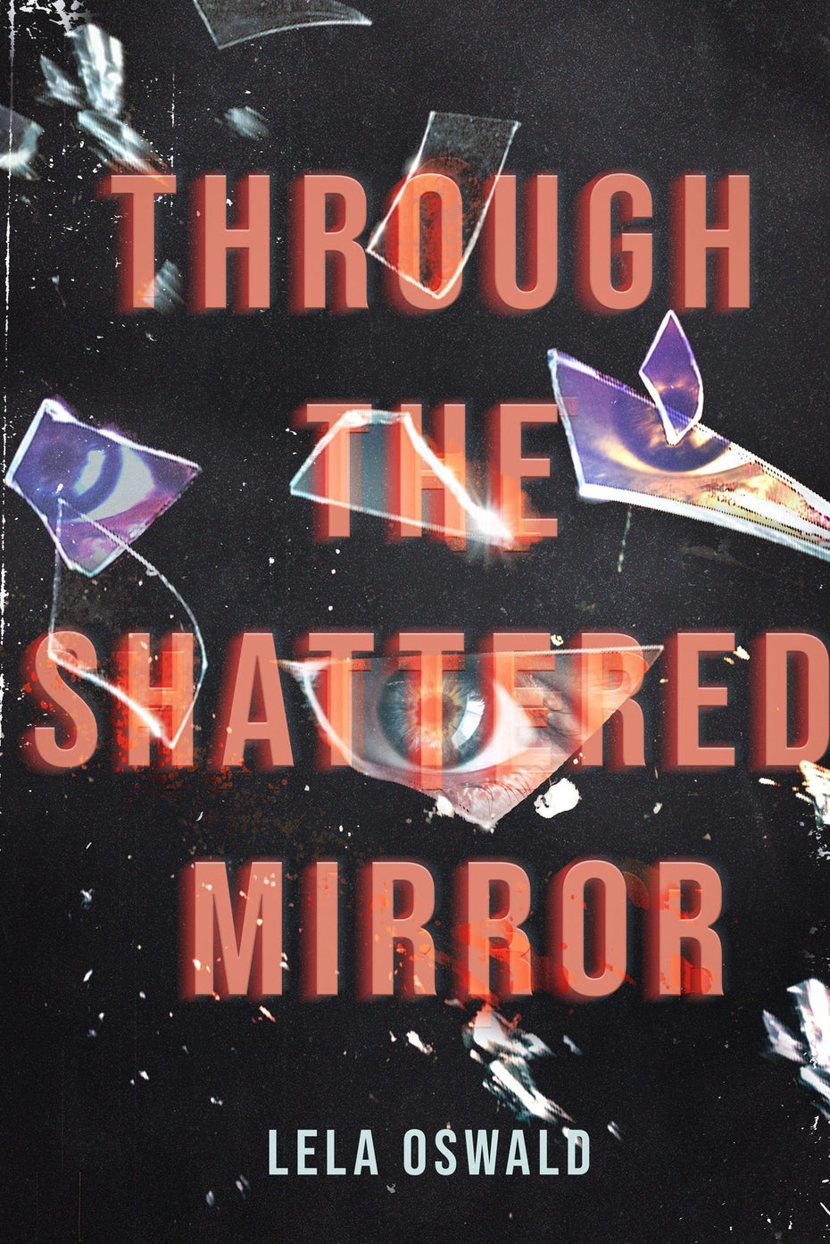 hidden titles book cover trends example: gray book cover with red text and images of eyes and shattered glass