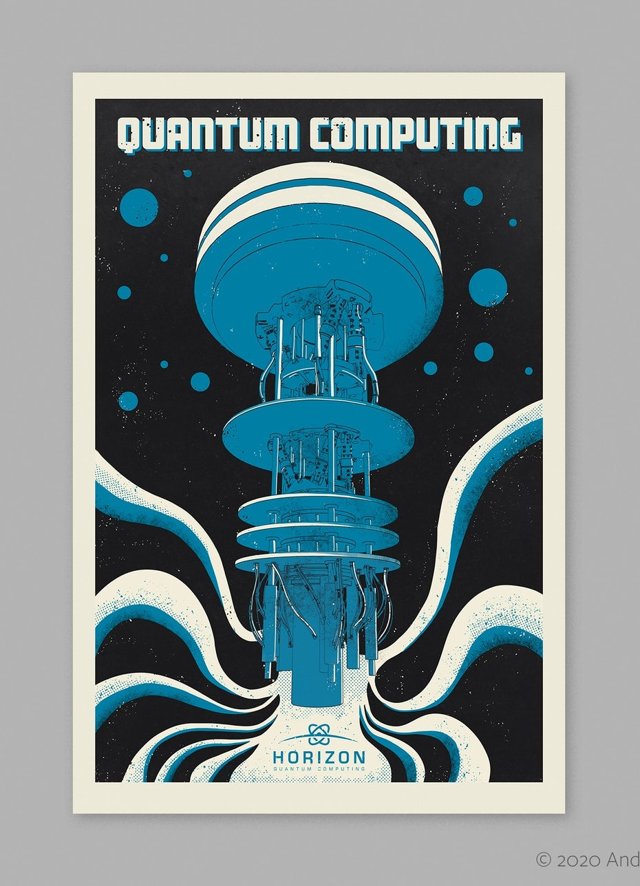 Blue retro futuristic poster design for computing brand