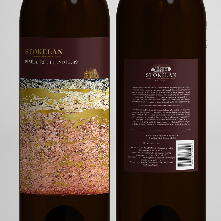 wine label in purple, gold, pink and white with gold text