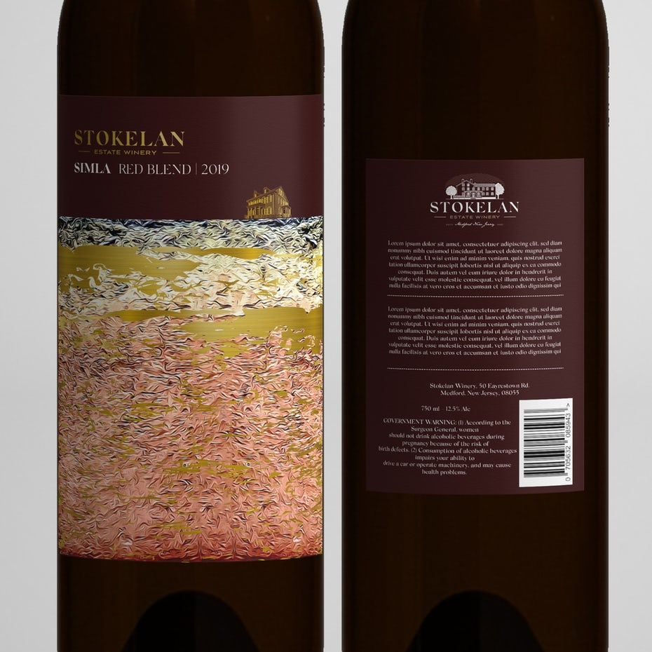 fine art packaging design trend: wine label in purple, gold, pink and white with gold text