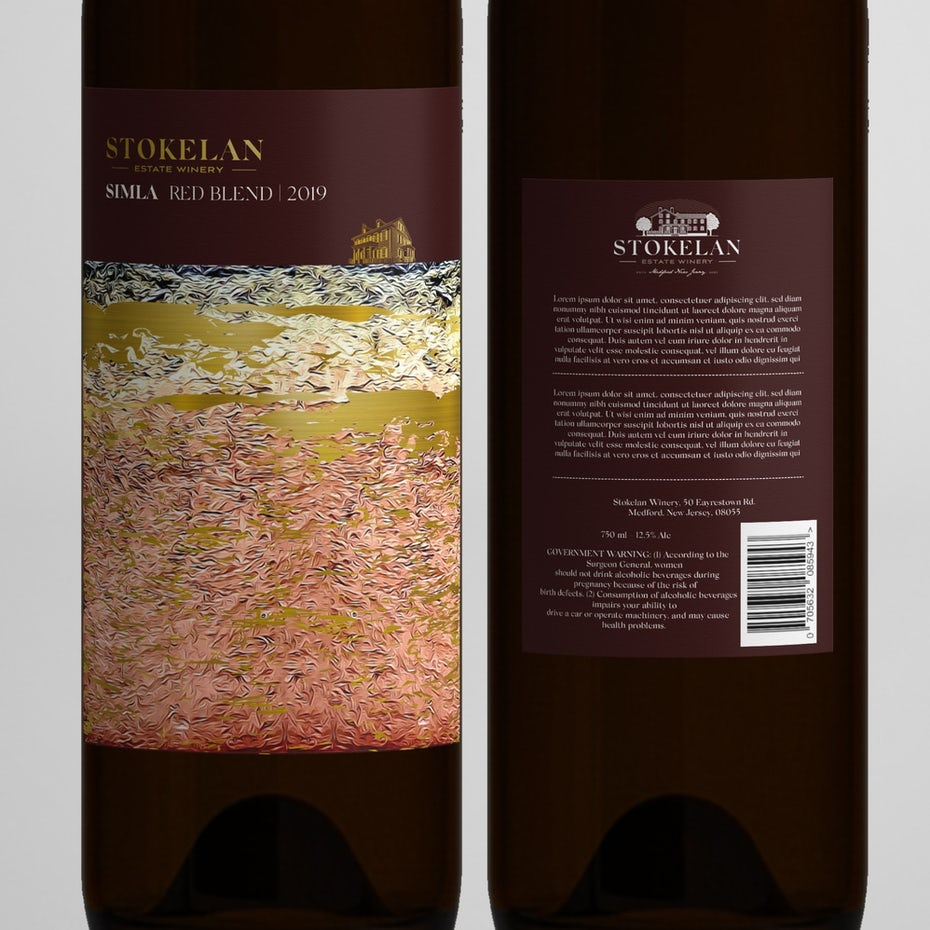 Realistic painting style wine label