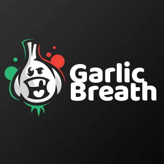 Funny garlic character logo design illustration