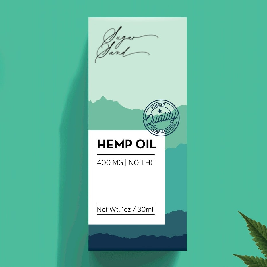 Hemp oil packaging in shades of green