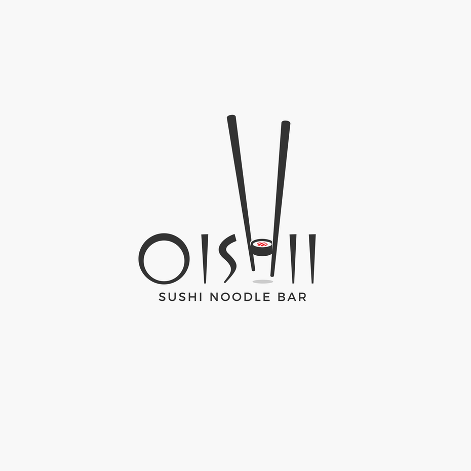 logo design trends example: Hand-lettering logo design for sushi restaurant