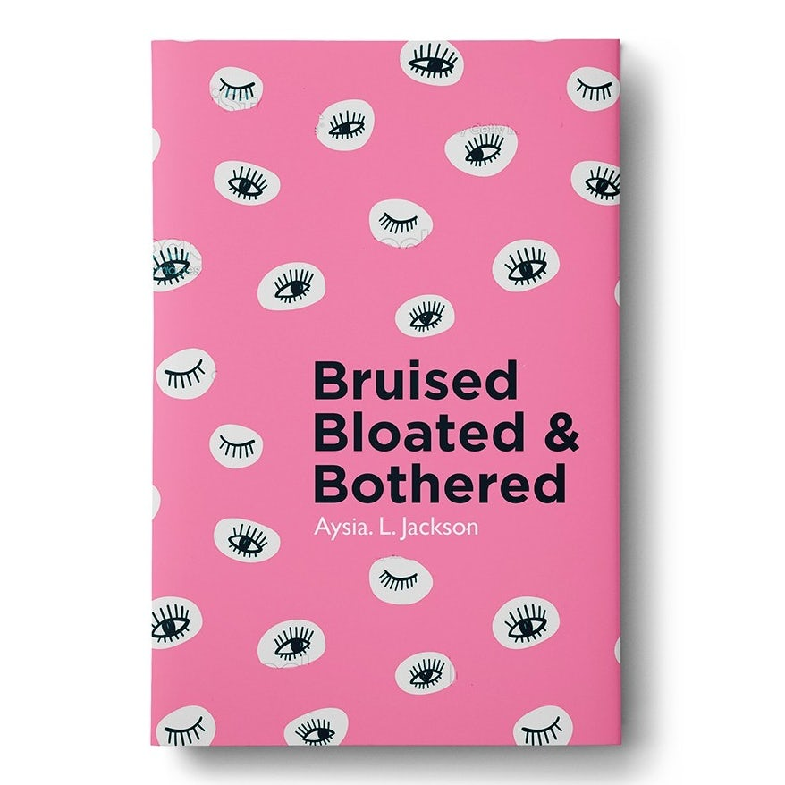 pink book cover with line-drawn eyes against white circles