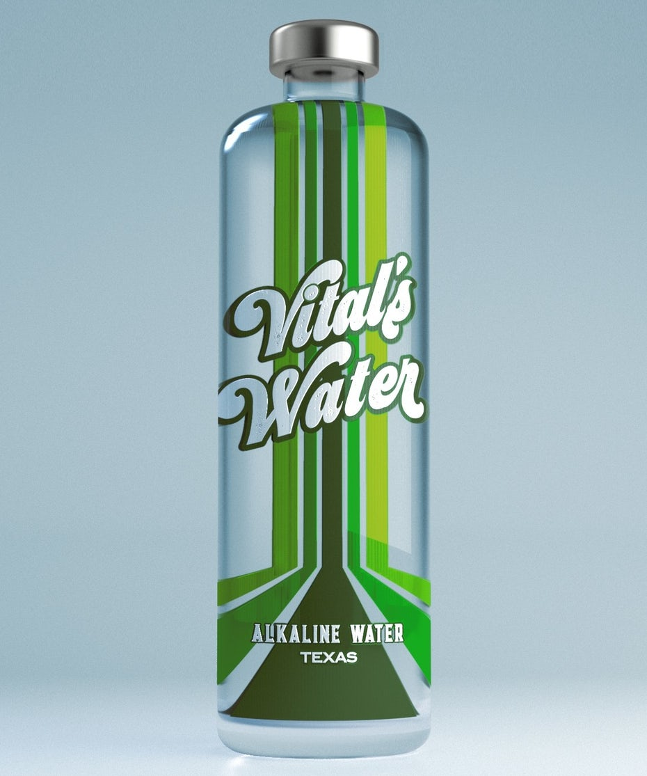 name-focussed packaging design trend: clear water bottle with a bold label and green stripe design
