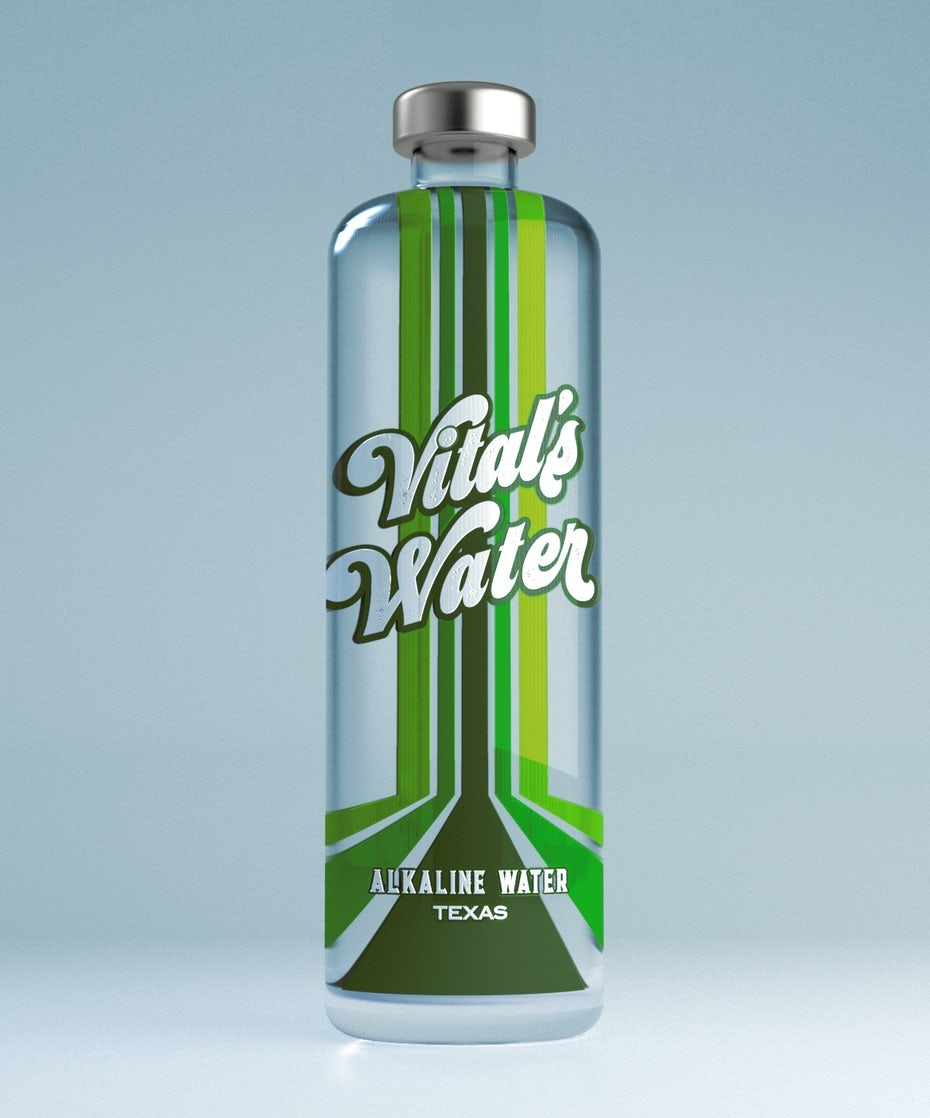 clear water bottle with a bold label and green stripe design