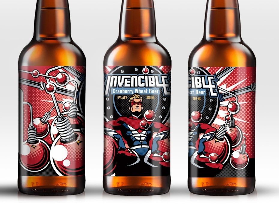 Vintage comic book inspired beer label design