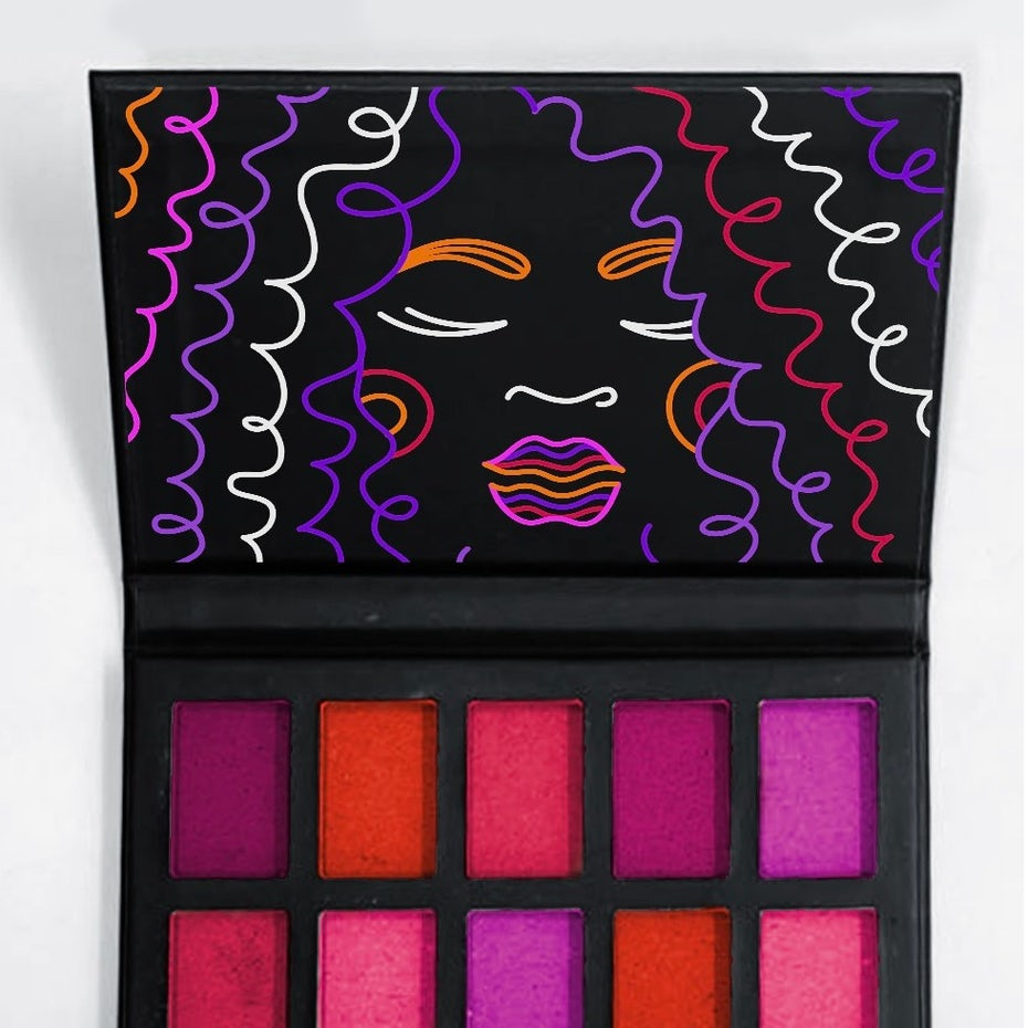 makeup palette design of a black background with a face created in different-colored squiggles