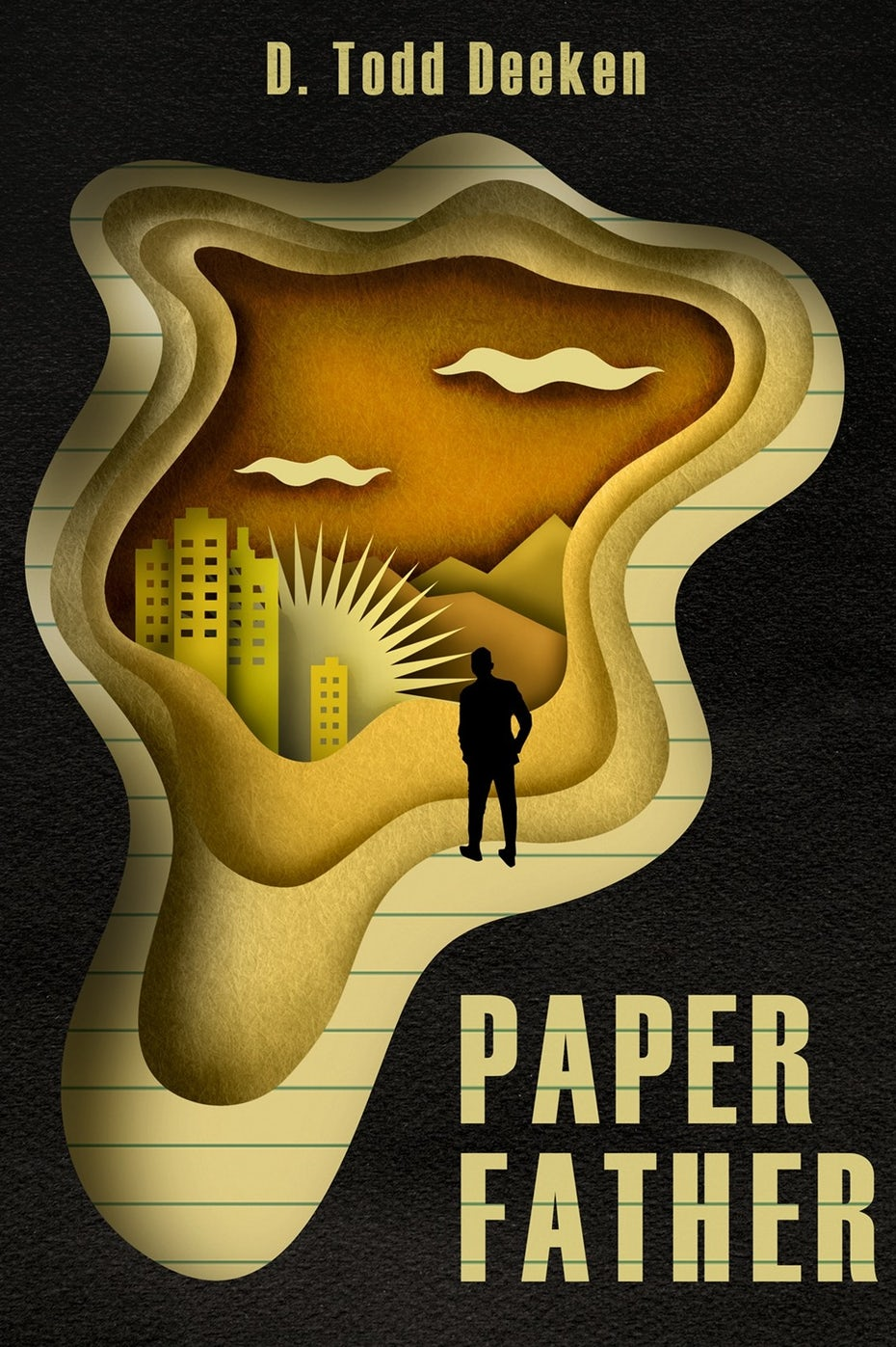 book cover trends example: black book cover with yellow papercut image of a man looking into a landscape