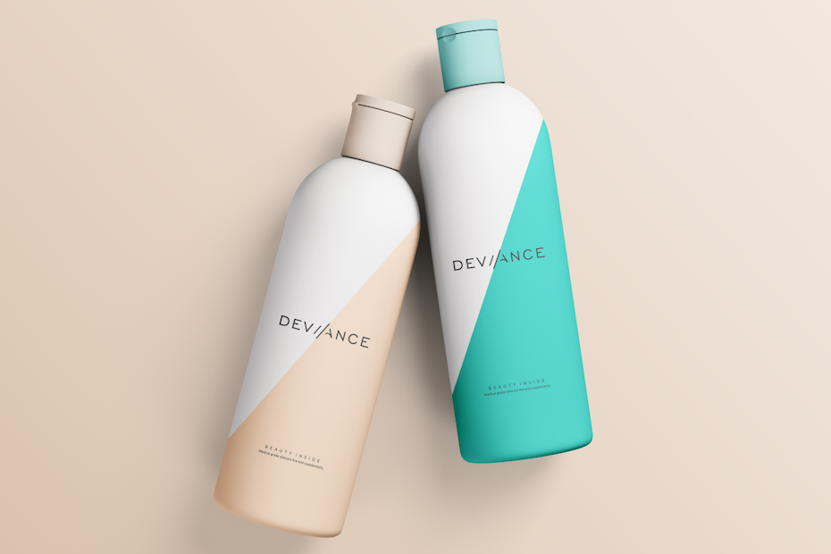 bottle design in green and peach