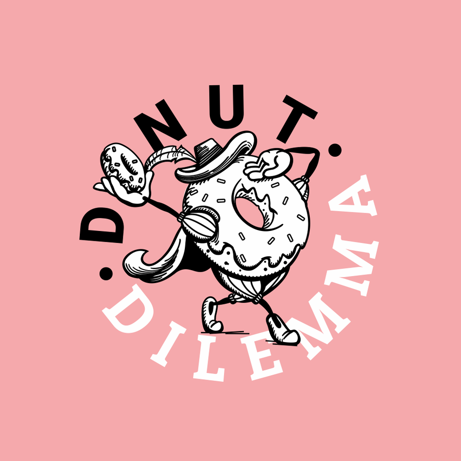 logo design trends example: funny donut character logo design illustration