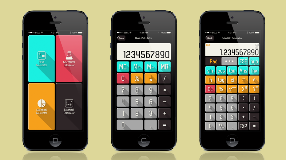 analogue app design trend example: retro calculator app design