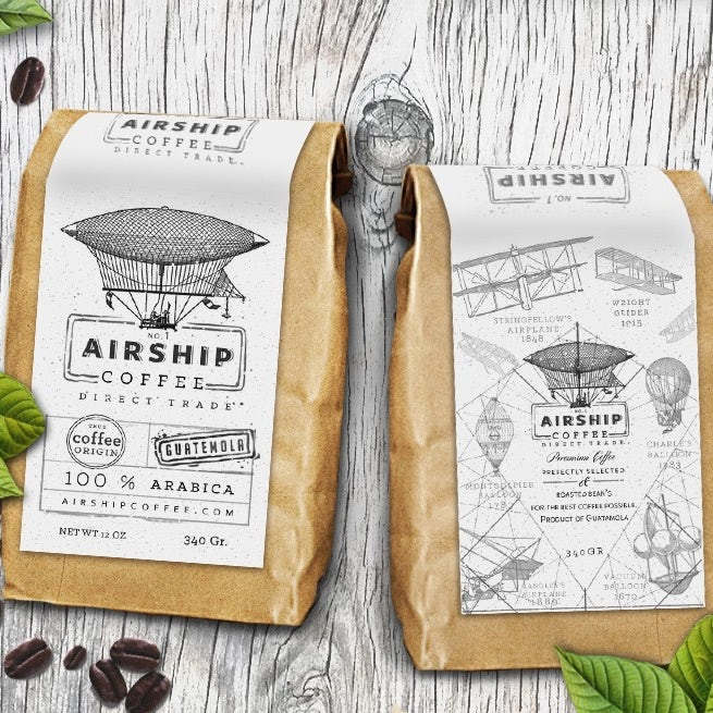 technical drawing packaging design trend: coffee bean packaging showing illustrations of airships