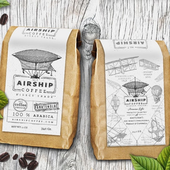 coffee bean packaging showing illustrations of airships