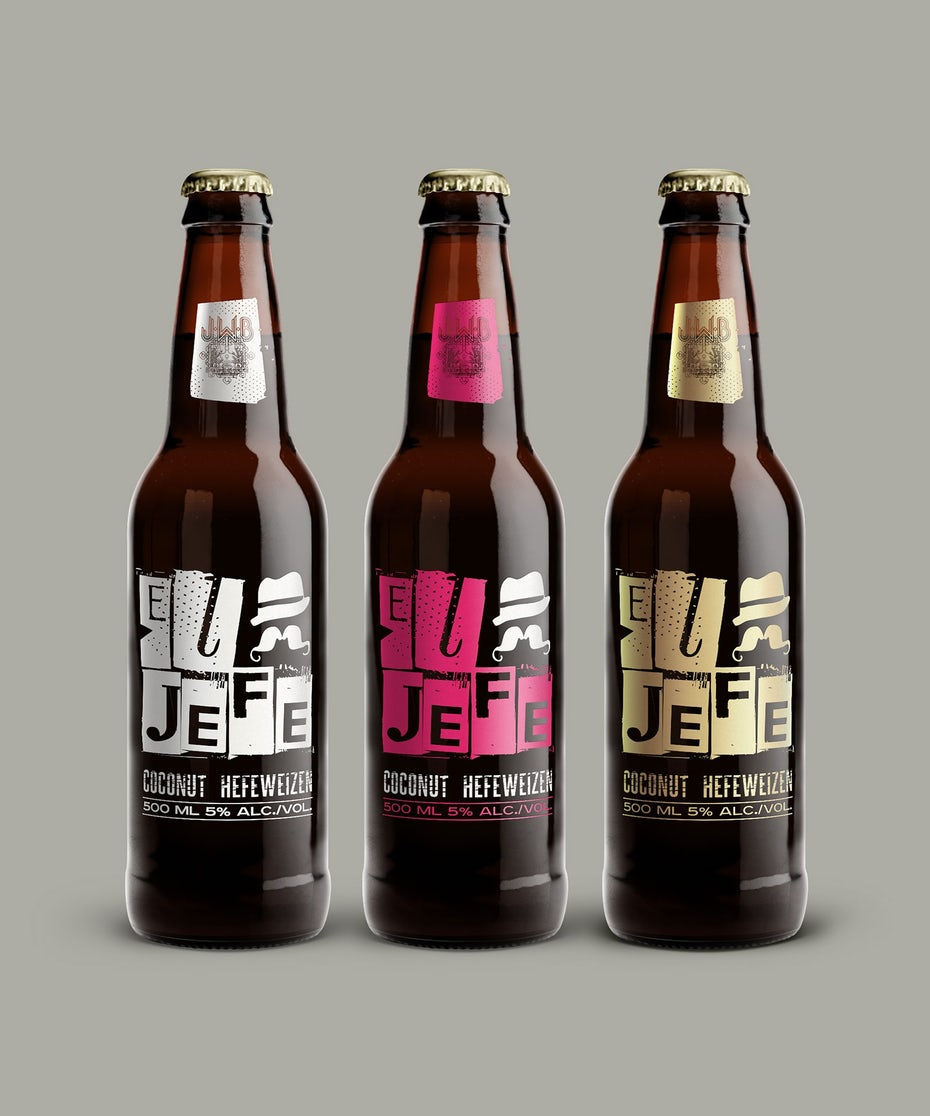 three beer bottles with eclectic font designs